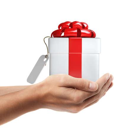 Objet de détention main de l'homme (blanc de boîte de cadeau avec un ruban rouge et arc) isolé sur fond blanc. Haute résolution Banque d'images - 24082073