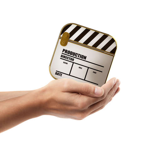 Man hand holding object ( Clapper board goloden )  isolated on white background. High resolution  photo