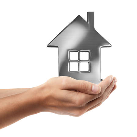 Man hand holding object ( House )  isolated on white background. High resolution  photo