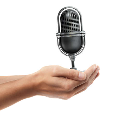 Man hand holding object ( Retro microphone )  isolated on white background. High resolution  photo