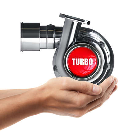 turbocharger: Man hand holding object ( Steel turbocharger )  isolated on white background. High resolution  Stock Photo