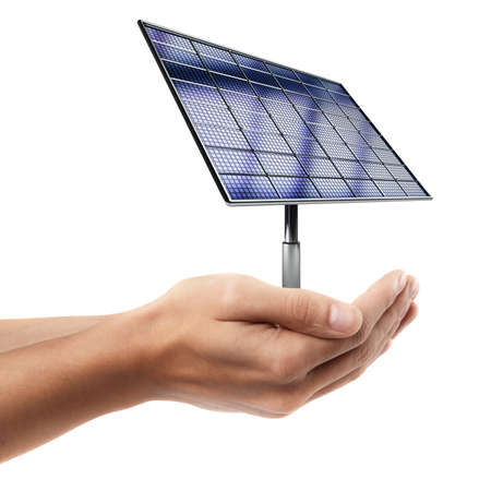 Man hand holding object ( Solar battery panel )  isolated on white background. High resolution   photo