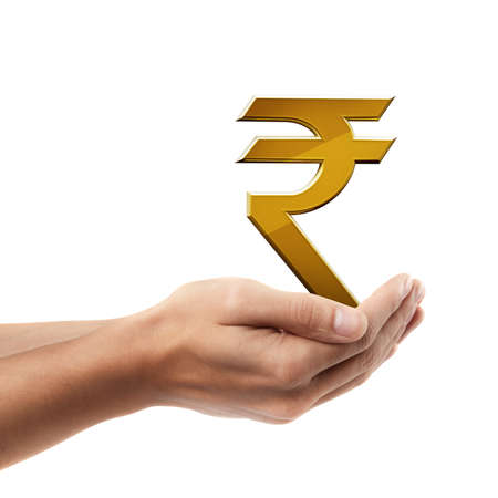 Man hand holding object ( Golden Indian rupee simbol )  isolated on white background. High resolution photo