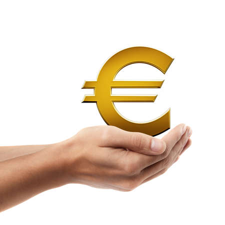 Man hand holding object ( Golden Euro simbol )  isolated on white background. High resolution  photo