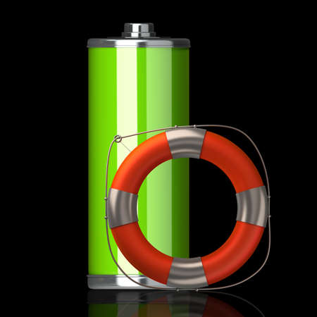 tecnology: Full Battery symbol with lifebuoy isolated on black background High resolution 3d