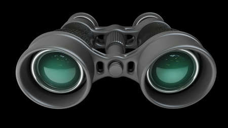 binoculars view: Black binoculars isolated on black background High resolution 3d  Stock Photo