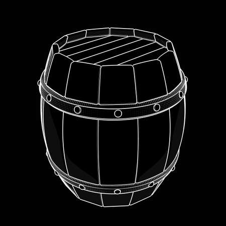 Wooden barrel. cartoon illustration outline. High resolution 3D  illustration