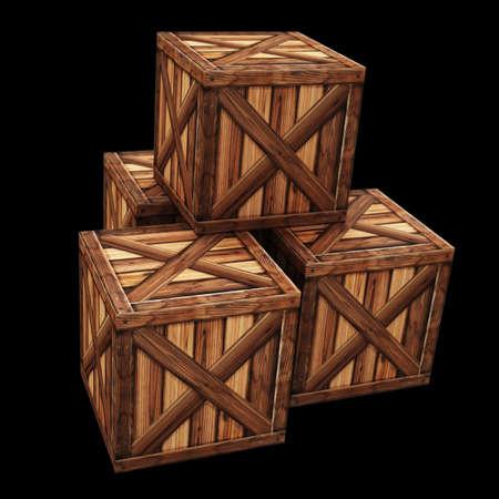 Wooden box. 3d render High resolution