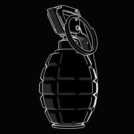 grenade: Grenade black and white drawing. illustration outline  Stock Photo