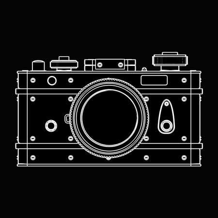 former: Vintage photo camera. black cartoon illustration outline. High resolution 3D