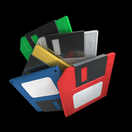 color Stack of floppy disks isolated on black background. High resolution 3d  photo