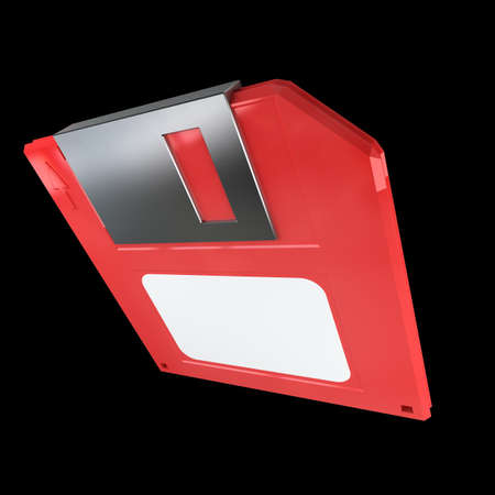 salvaging: RED Magnetic floppy disc icon for computer data storage. isolated on black background. High resolution 3d