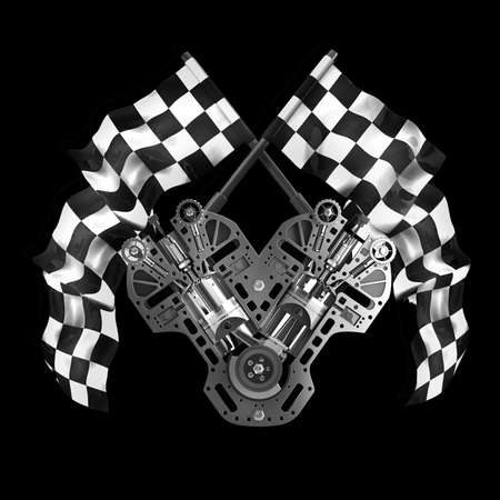 crossed checkered flags: V8 Car engine. Two crossed checkered flags isolated on black background High resolution 3d render