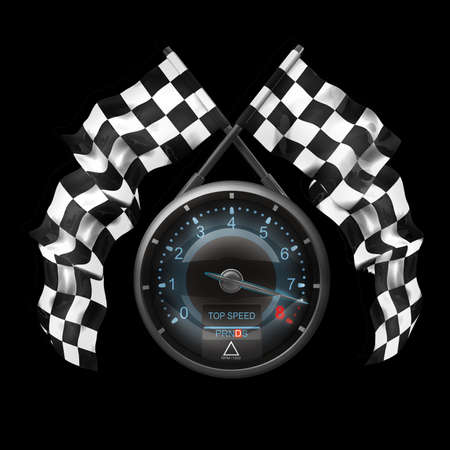 crossed checkered flags: tachometer. Two crossed checkered flags isolated on black background High resolution 3d render  Stock Photo