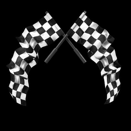 crossed checkered flags: Two crossed checkered flags isolated on black background High resolution 3d render