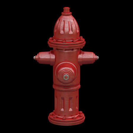 red fire hydrant isolated on black background High resolution 3d render photo