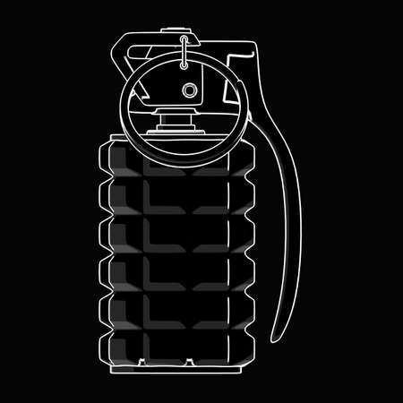 grenade: Grenade. black cartoon illustration outline. High resolution