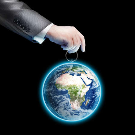 obsolescence: Mans hand holding Earth (CONCEPT) Elements of this image furnished by NASA isolated on black background High resolution 3d