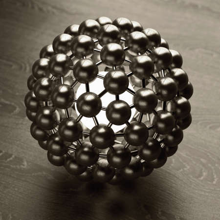 3D rendered silver glossy molecules structure High resolution  photo