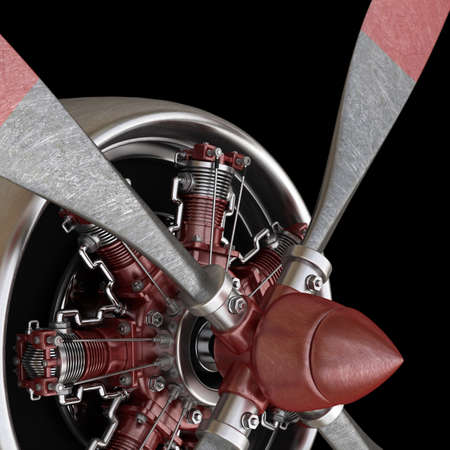 plane engine isolated on black background. High resolution 3d render