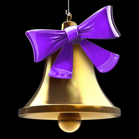Golden bell with red bow. isolated on black background High resolution 3d  photo