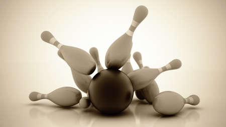 skittles: 3d Bowling Ball crashing into the pins. High resolution Stock Photo