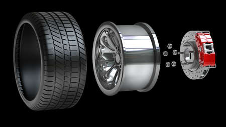 discs: Wheels, Rims , brake pads and discs. CAR PARTS. isolated on black background High resolution 3d render