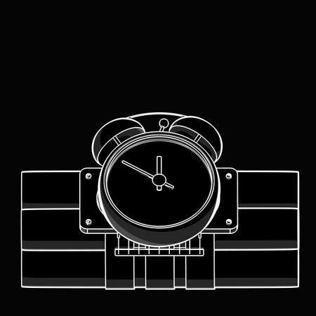 Bomb with clock timer black and white drawing. illustration outline  illustration
