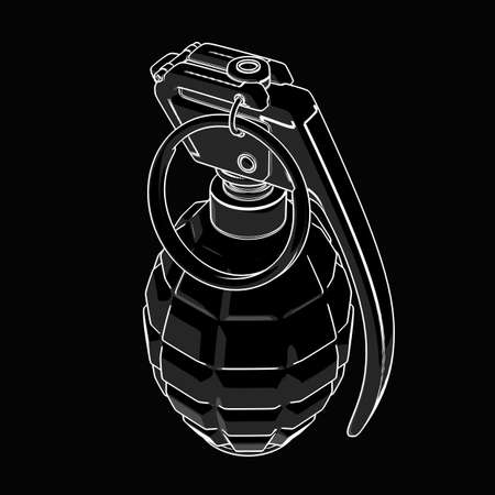 hand grenade: Grenade black and white drawing. illustration outline  Stock Photo