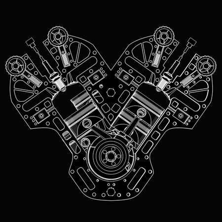 V8 Car engine. black  cartoon illustration outline. High resolution  Stock Photo