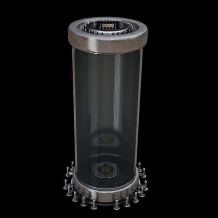 3d atom: empty capsule isolated on black background High resolution 3D image