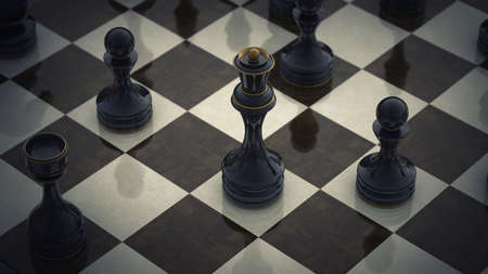 pawn king: chess queen background 3d illustration. high resolution