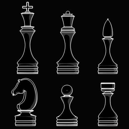 complete set of chess pieces. black cartoon illustration outline. High resolution 3D  illustration