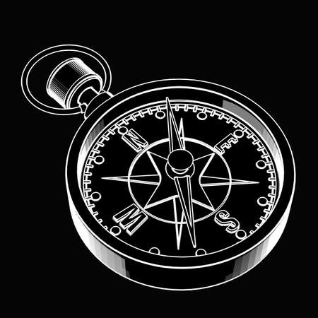 engineering drawing: Compass. black cartoon illustration outline. High resolution