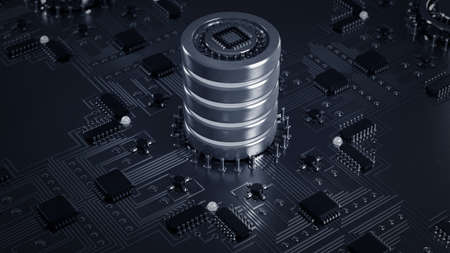 close-up of electronic circuit board with processor High resolution 3d render  版權商用圖片
