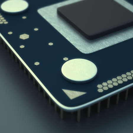 close-up of Processor unit CPU concept 3d render High resolution  photo