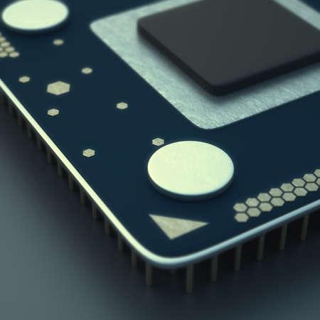 close-up of Processor unit CPU concept 3d render High resolution  photo