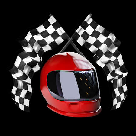 crossed checkered flags: Red moto helmet. Two crossed checkered flags isolated on black background High resolution 3d render