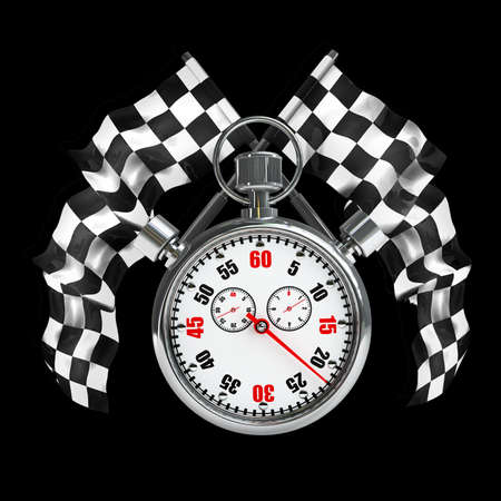 crossed checkered flags: Stopwatch. Two crossed checkered flags isolated on black background High resolution 3d render  Stock Photo