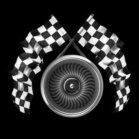 aircraft engine: Jet engine. Two crossed checkered flags isolated on black background High resolution 3d render