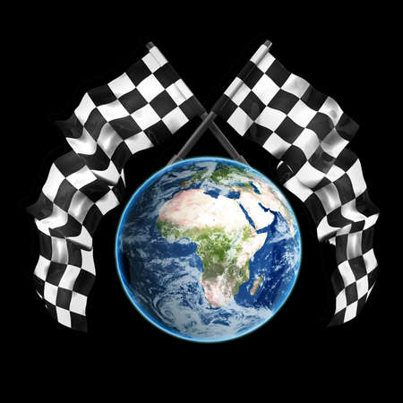 crossed checkered flags: blue Earth globe Two crossed checkered flags isolated on black background High resolution 3d render