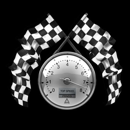 tachometer. Two crossed checkered flags isolated on black background High resolution 3d render  photo