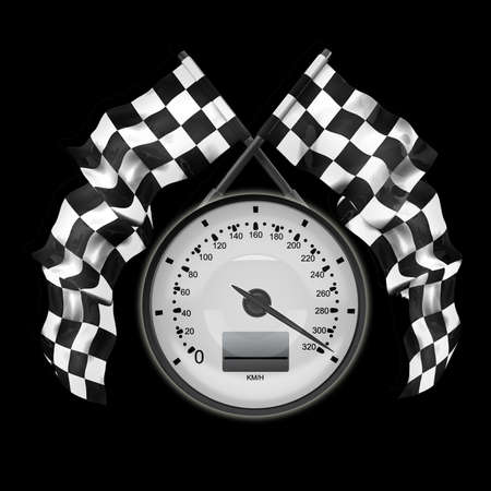 Speedometer Two crossed checkered flags isolated on black background High resolution 3d render  photo