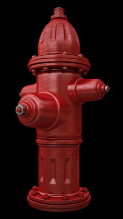 fire hydrant: red fire hydrant isolated on black background High resolution 3d render