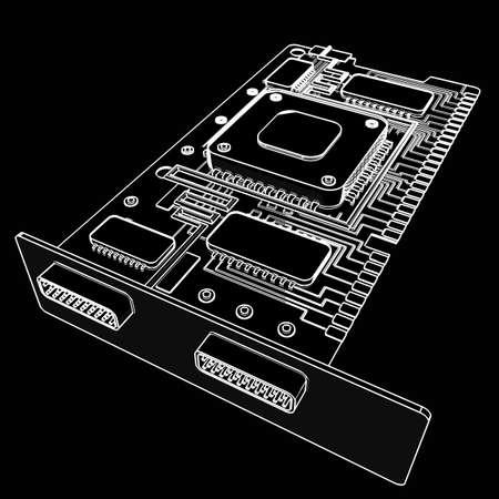 graphic card: GPU della scheda grafica. fumetto illustrazione contorno. 3D ad alta risoluzione Archivio Fotografico