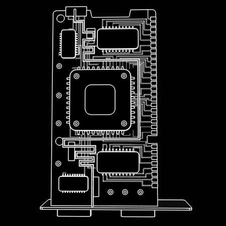 graphic card GPU. cartoon illustration outline. High resolution 3D