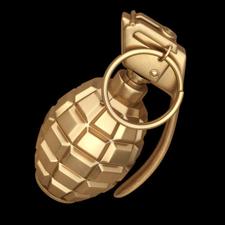 3D collection of gold objects. Grenade  isolated on black background. High resolution  Stock Photo
