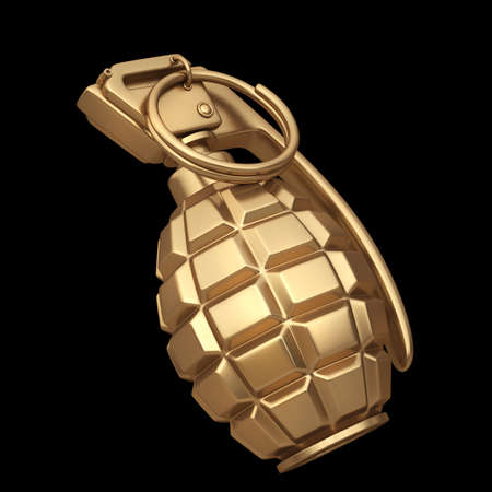 grenade: 3D collection of gold objects. Grenade  isolated on black background. High resolution  Stock Photo