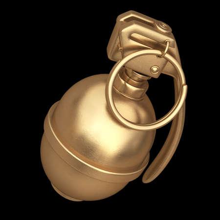 lanzamiento de bala: 3D recolección de objetos de oro. Granada aislado en el fondo negro. Alta resolución