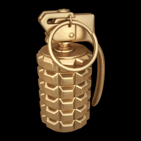 3D collection of gold objects. Grenade  isolated on black background. High resolution  photo